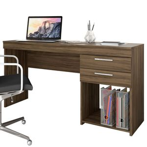 Mesa Escrivaninha Office 2 Gavetas Nogal Notável Móveis