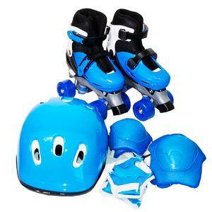 Patins 4 Rodas Roller Azul Kit Proteção M BW-017AZ Importway
