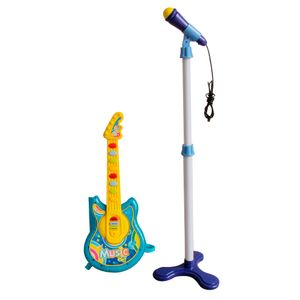Guitarra e Microfone Infantil Musical Azul BW138AZ Importway