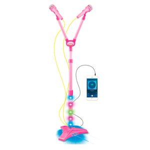 Microfone Infantil Duplo Pedestal Luzes Rosa BW140RS Importway