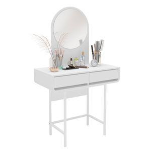 Penteadeira Holanda Com Espelho e 2 Gavetas Branco Politorno
